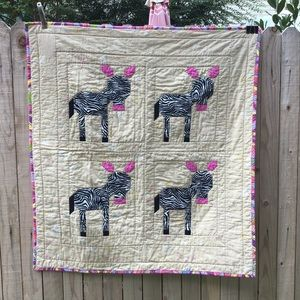 "Zebra Baby Quilt Hand Crafted 40""x43"""